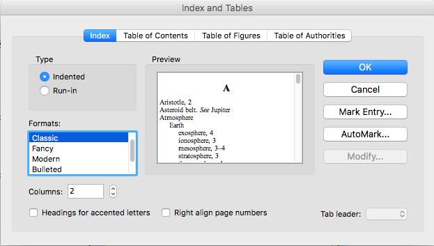 Create a book index from a PDF using Word manuscript